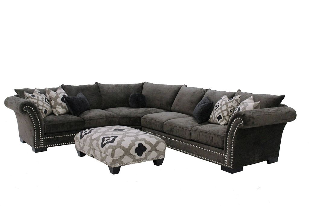Cambria Grey Nail Head Fabric Oversized Sectional And Ottoman Set   Left  Facing   Michael Anthony Furniture