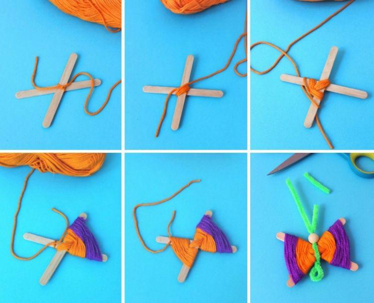Schmetterlinge Basteln Mit Kindern Bastelanleitung Eisstiele Wolle