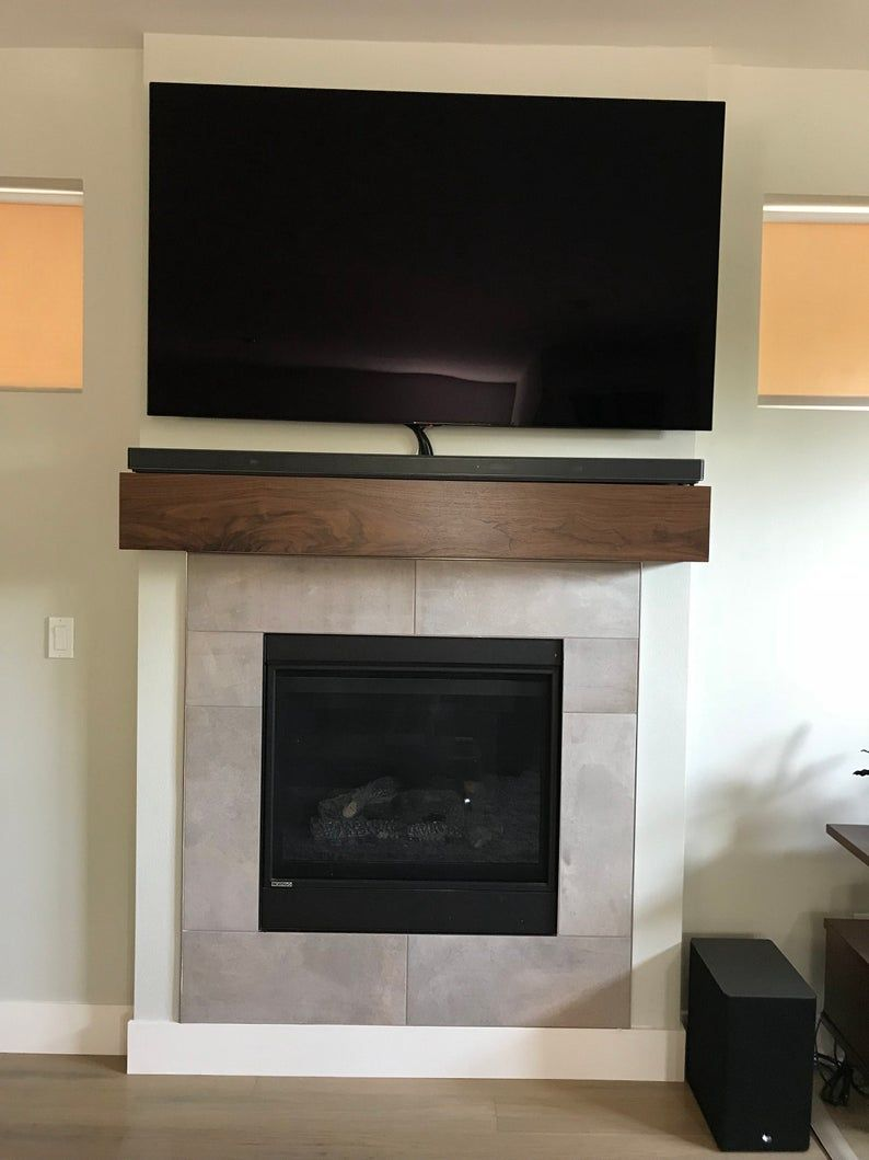 Modern Walnut Fireplace Mantel With Drop Front Shelf Media