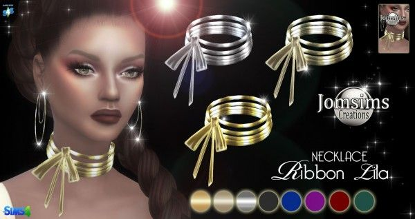 Jom Sims Creations: Ribbon Lila necklace • Sims 4 Downloads