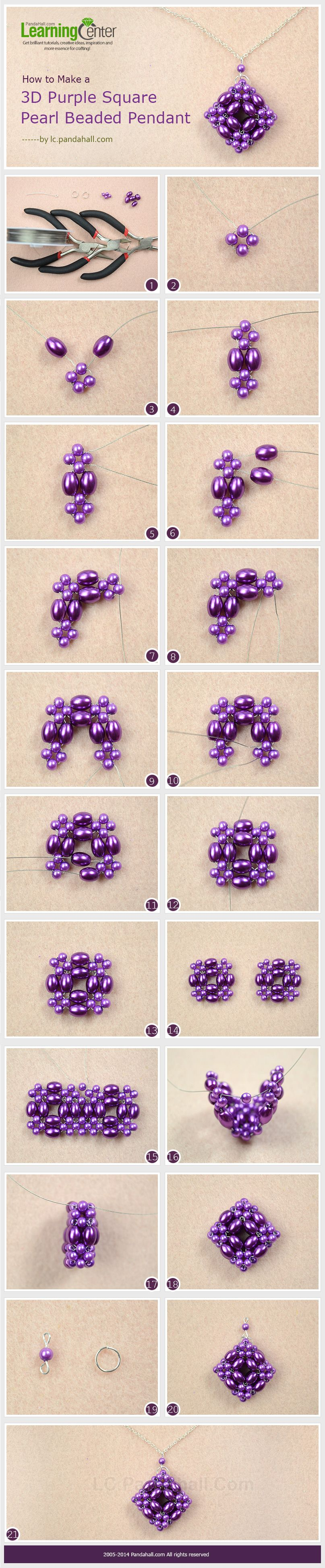 How to make a 3d purple square pearl beaded pendant jewelry making how to make a 3d purple square pearl beaded pendant aloadofball Image collections