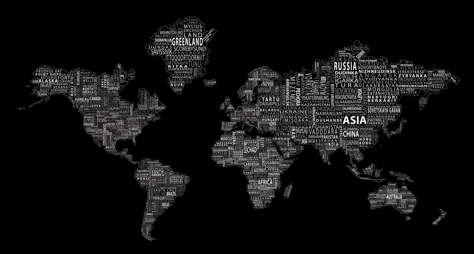 1 World Text Map Wall Mural White On Black Map Wall Mural Wallpaper Notebook Aesthetic Desktop Wallpaper