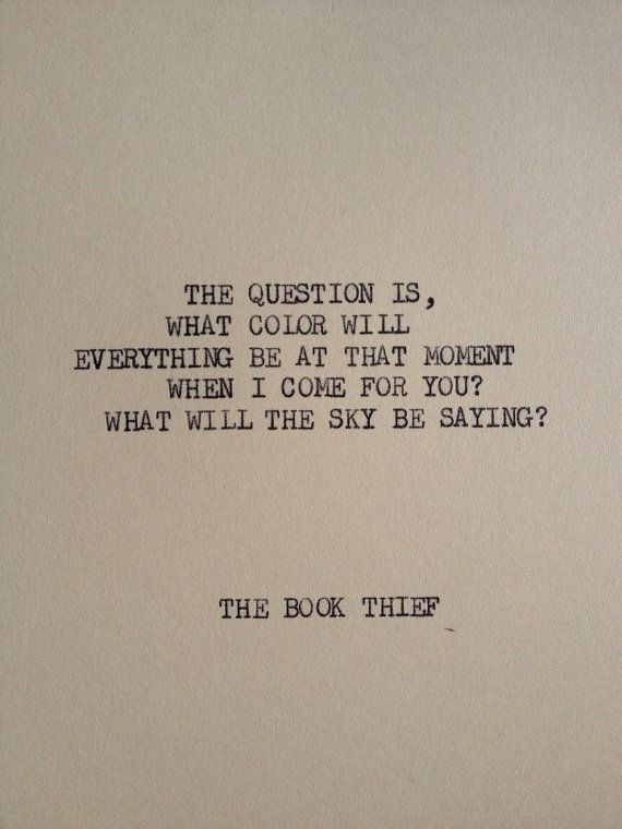 Merveilleux THE BOOK THIEF Typewriter Quote On 5x7 Cardstock By WritersWire, $5.00