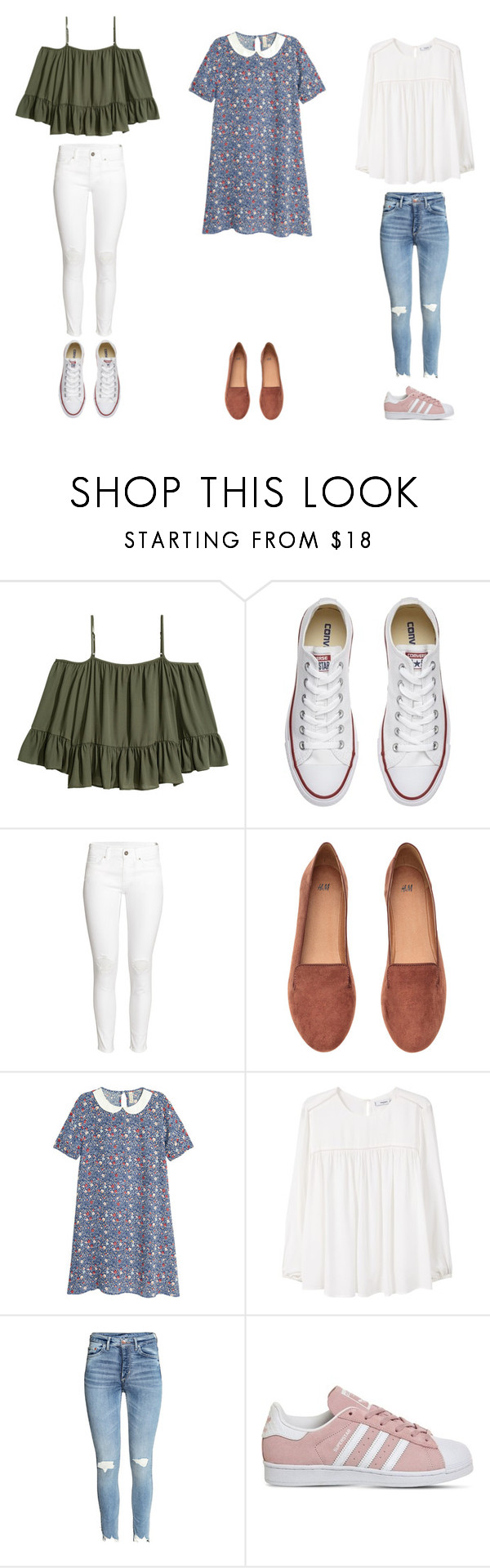 """""""Untitled #2869"""" by lespybook ❤ liked on Polyvore featuring Converse, H&M, MANGO and adidas"""