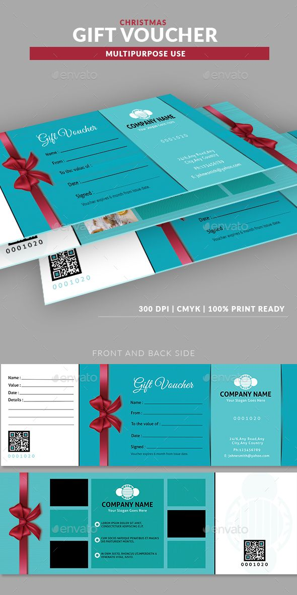 Christmas Multipurpose Gift Voucher Template Template, Print
