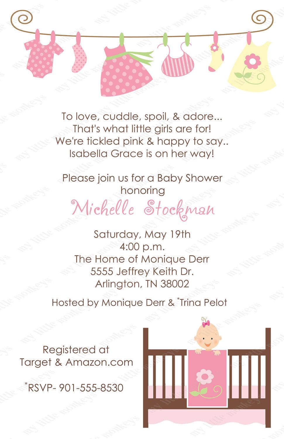 10 Twin Girls Baby Shower Laundry Invitations with Envelopes. Free ...