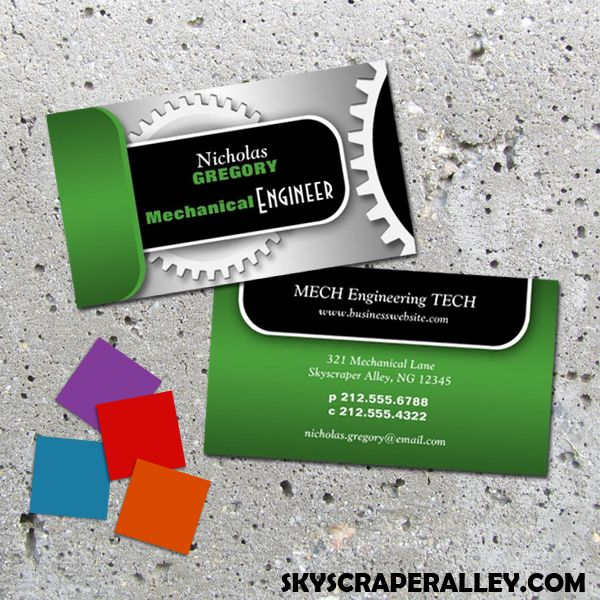 Skyscraper alley designs mechanical engineer gear business cards unique and revolutionary occupation appropriate professional business cards designed for mechanical engineers in your choice of 5 colors reheart Gallery