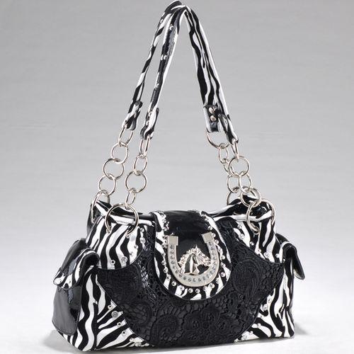 Women's Zebra Print Fashion Handbag w Western Horse Theme Ornament Black | eBay