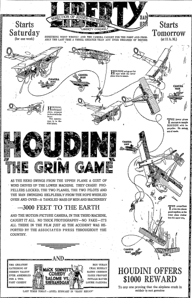 """Advertisement for Harry Houdini's film """"The Grim Game,"""" published in the Oregonian newspaper (Portland, Oregon), 31 October 1919. Read more on the GenealogyBank blog: """"Houdini: Remembering the Magical Life of Erik Weisz."""" http://blog.genealogybank.com/houdini-remembering-the-magical-life-of-erik-weisz.html"""