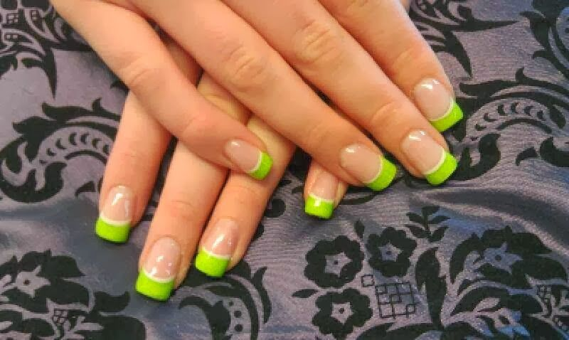 Pink Neon Green French Acrylic Nails Gel Color Manicure French Design Nail Salon Servic French Acrylic Nails French Manicure Nails French Manicure Nail Designs