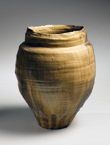 Hori Ichiro, recipiente esmaltado-ki-Seto, gres esmaltado de color amarillo-2010, japonés ki-Seto, Japón recipiente teaware japonés, cerámica japonesa, cerámica japonesa, la cerámica contemporánea japonesa