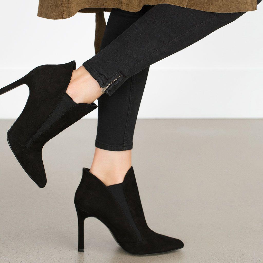 Piel México Elástico Zara Botines Botín Zapatos Tacón Mujer q1wW0