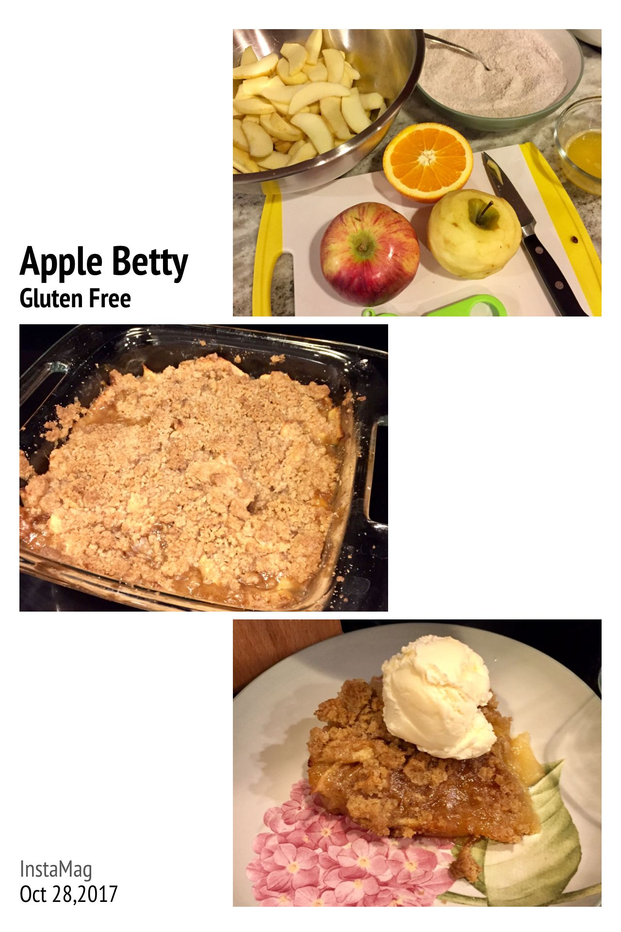 Northern spy apples, crumb topping, vanilla ice cream