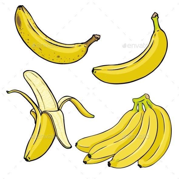 Vector Set Of Cartoon Yellow Bananas Banana Sketch Banana Picture Cartoon Banana