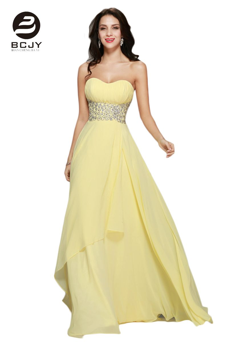 Click to buy ucuc hot sale yellow beaded bodice prom dresses strapless