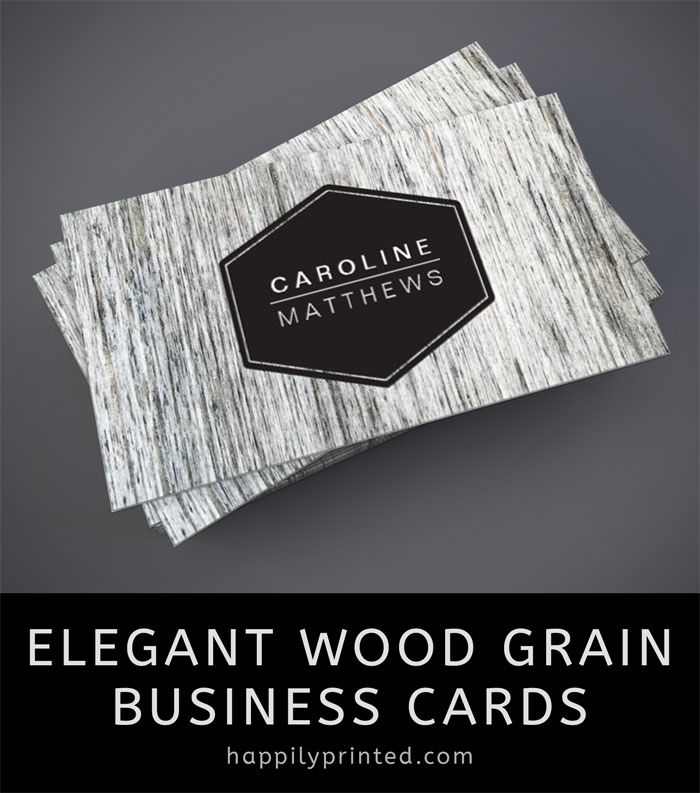 Elegant Rustic Wood Grain Business Cards With Dark Hexagon Label - Easy business card template