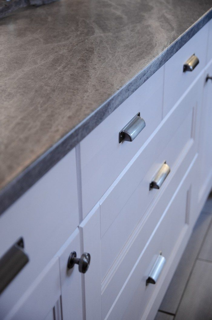 Soapstone Sequoia Is An Affordable Kitchen Update For Countertops. Shown  With White Cabinets And Nickel Pulls
