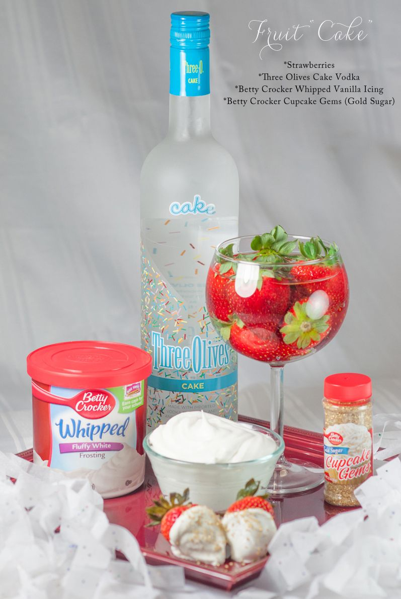 Cake Vodka InfusedStrawberries Recipe with Whipped Vanilla Icing