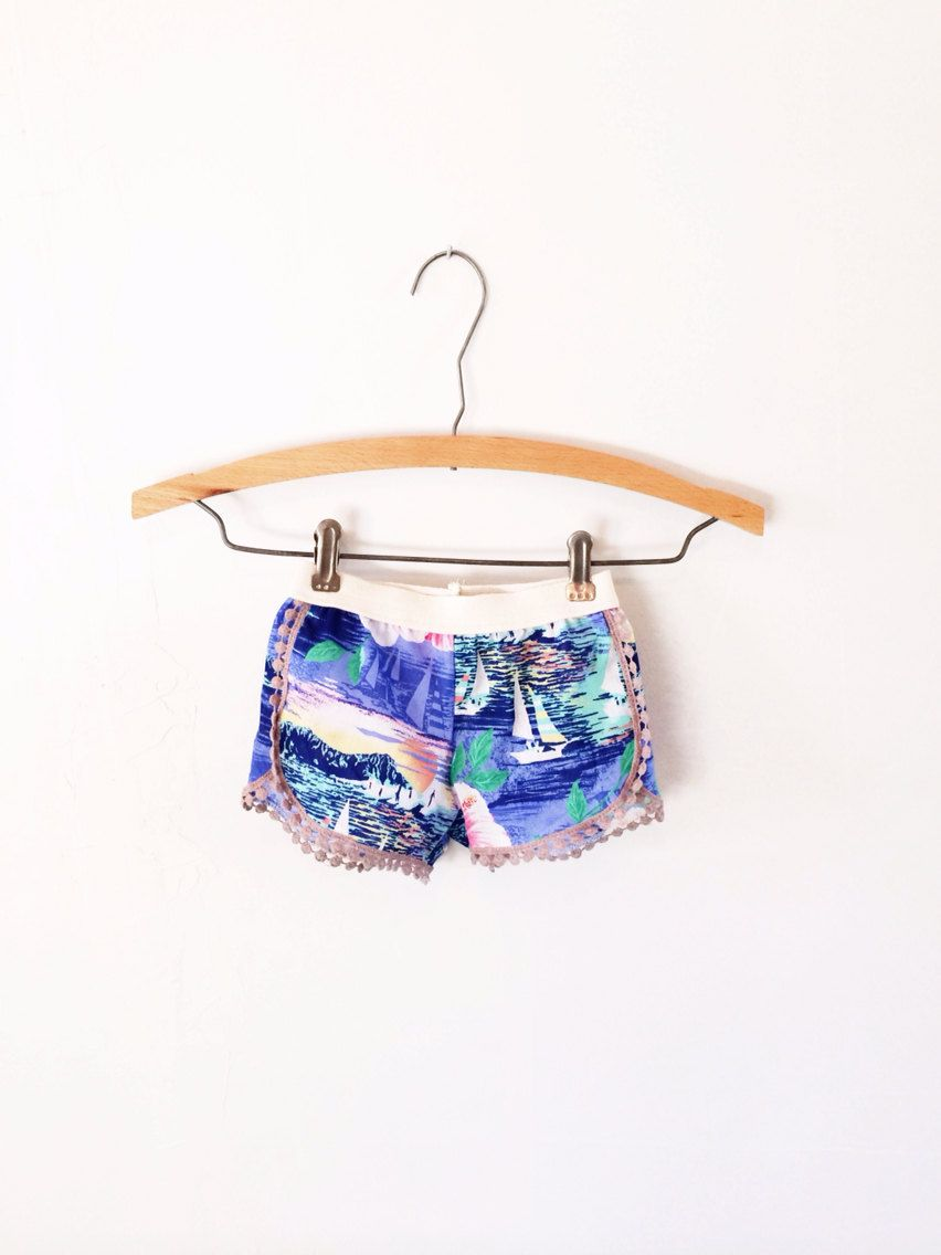 Hawaiian print lace trimmed shorts by thebrassrazookids on Etsy ...