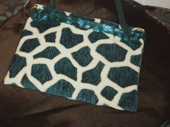 Tuquoise Giraffe Handbag with Beaded Strap by tidbitsandscraps