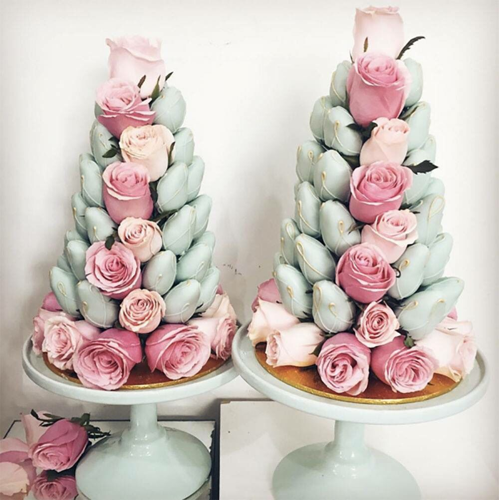 Chocolate covered strawberries and rose center piece