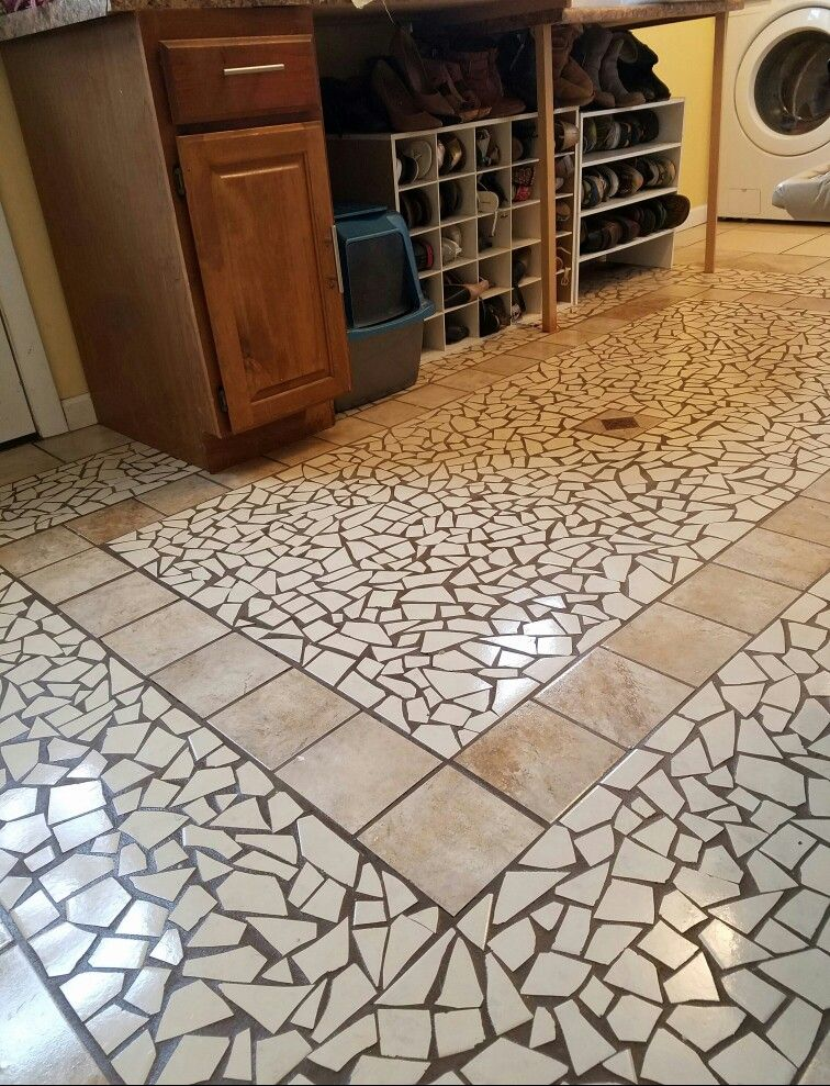 My Mudroom Mosaic Broken Tile Floor So Beautiful When It S Clean And Doesn T Have Shoes All Over It Mosaic Flooring Tile Floor Mosaic Floor Tile