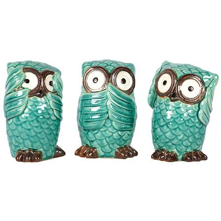Turquoise Owls See Speak Hear No Evil