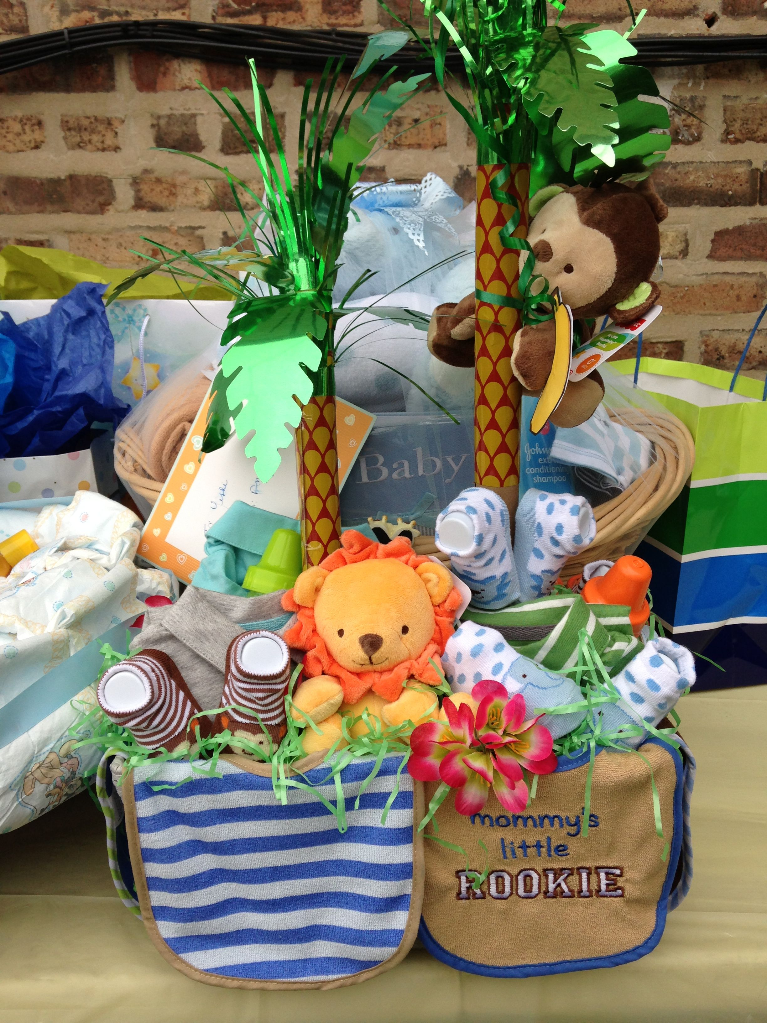 Baby Shower Jungle Theme Gift Basket Baby Shower Ideas Baby