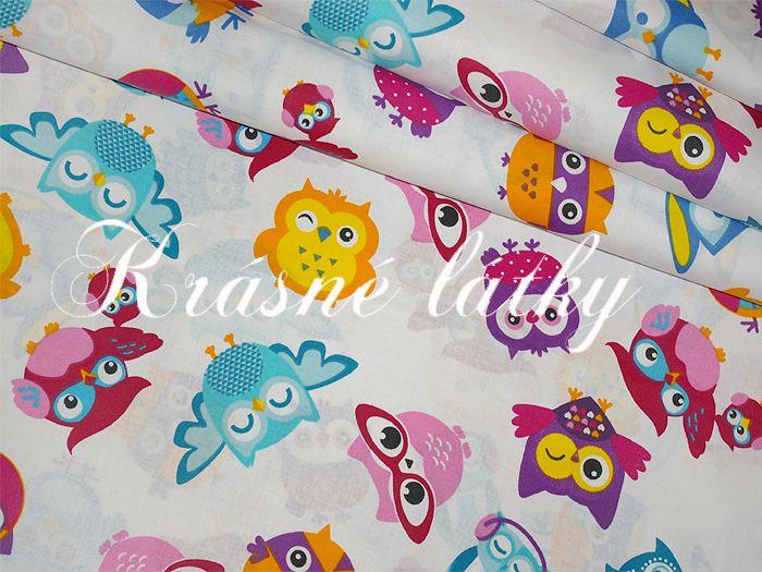 Sovy 100% bavlna v pestrých b. na dětské výrobky a dekoraci holka ... 32770f4cbf8
