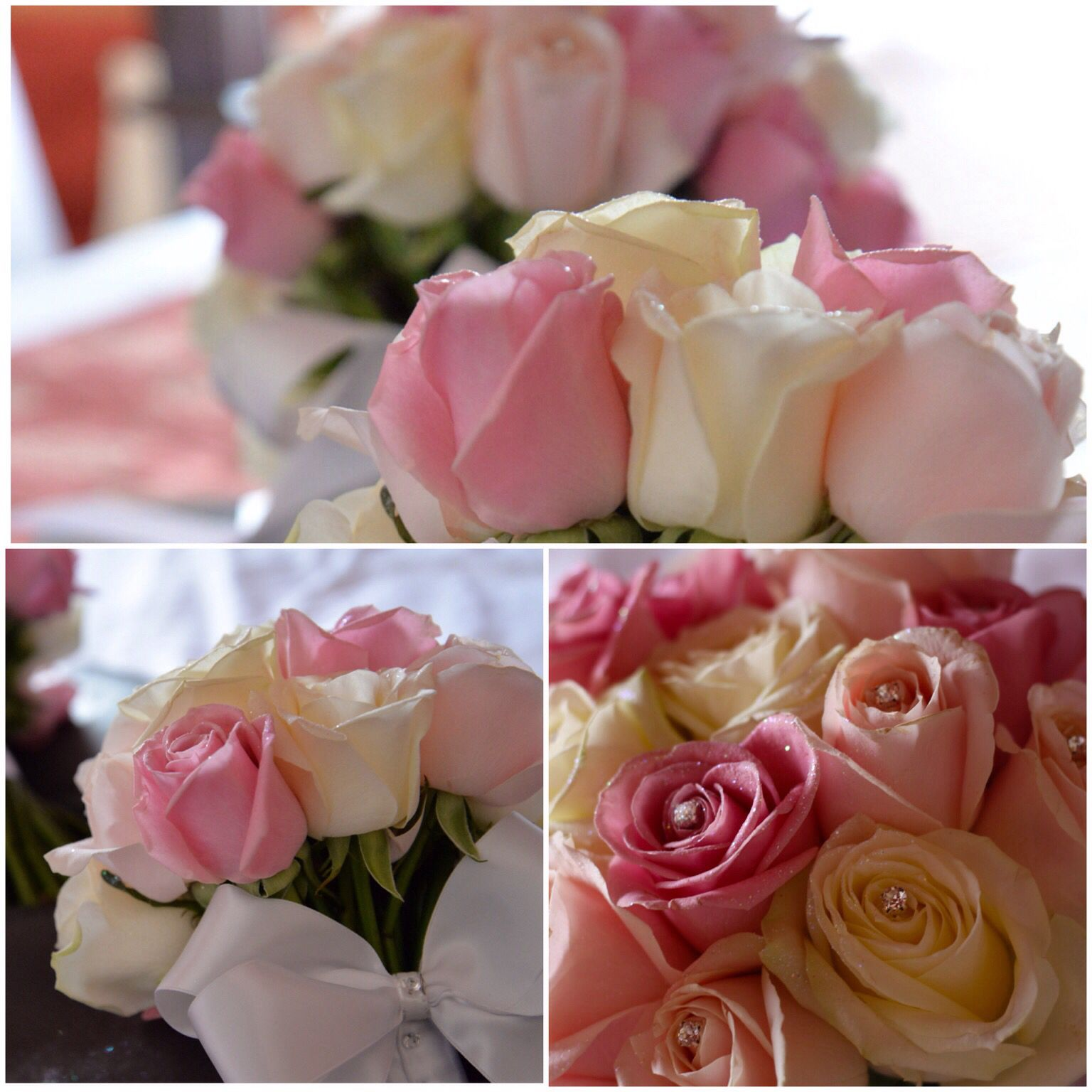 My beautiful wedding bouquet!! Pink wedding bouquet!! Soft pinks and dark pinks with stud diamontes and White bows!