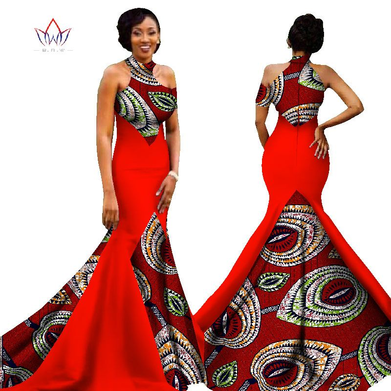Brw 2017 New African Women Long Dresses Dew Shoulders