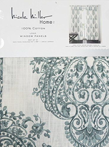 Nicole Miller Set Of 2 Long Window Panels Curtains Drapery Hidden Tabs 52  Inches By 96