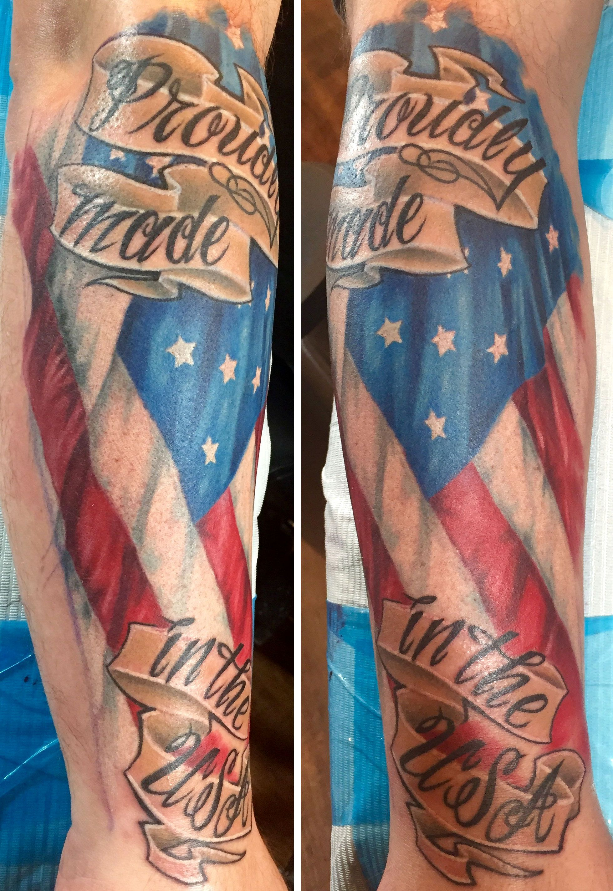 Proudly Made In The Usa American Flag Tattoo Done By John Kautz