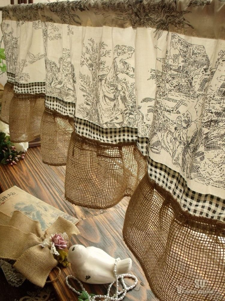 French Rustic Toile Burlap Valance   Victorian Figures Check Ruffle  Class  Black