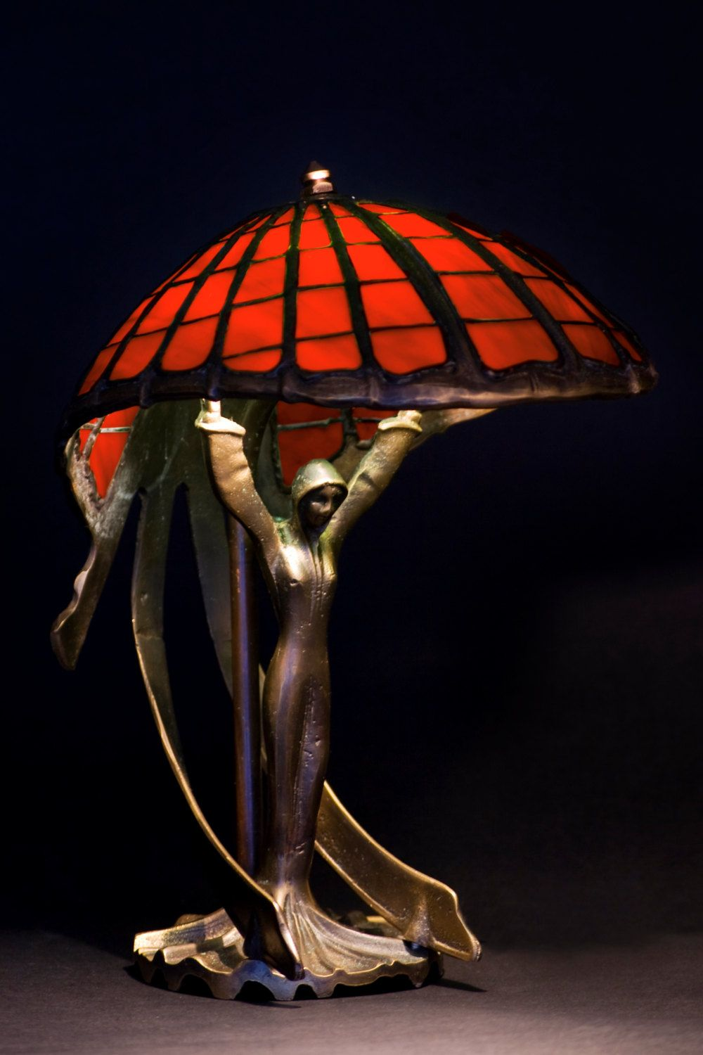 Tiffany Table Lamp Flying Lady Big Table Stained Glass