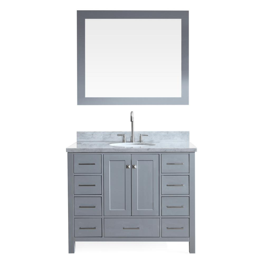 Ariel Cambridge 43 In Bath Vanity In Grey With Marble Vanity Top In Carrara White With White Basin And Mirror A043s Gry The Home Depot Marble Vanity Tops Single Sink Bathroom Vanity