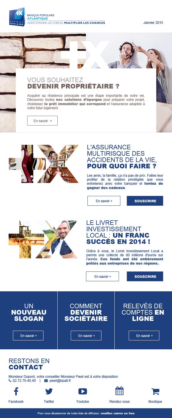 Maquettage et intégration de la newsletter Banque Populaire Atlantique.