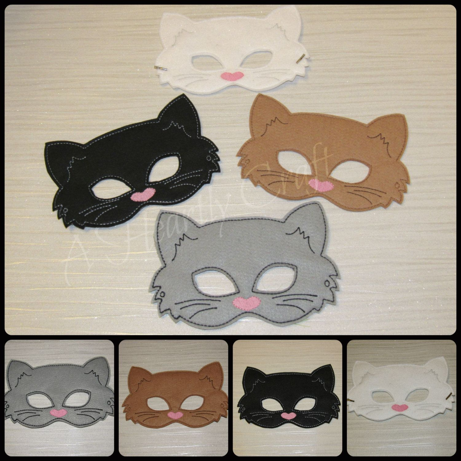 Cat Mask - Felt Cat Mask - Kitty Mask - White Cat Mask - Black Cat ...