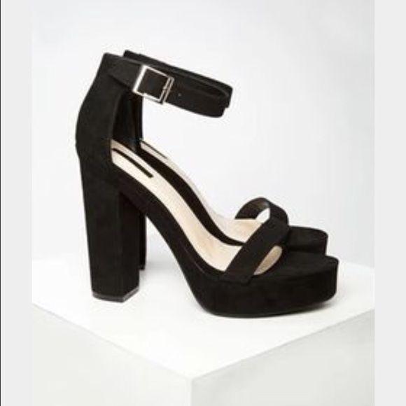 Forever 21 black ankle strap heels Forever 21 black faux suede platform ankle strap heels. Never used! Size 6.5 I don't have box. Forever 21 Shoes Heels