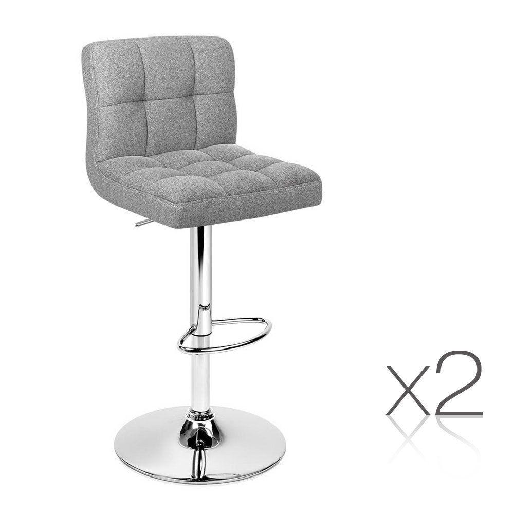 set of 2 fabric kitchen bar stools  grey  fabric bar
