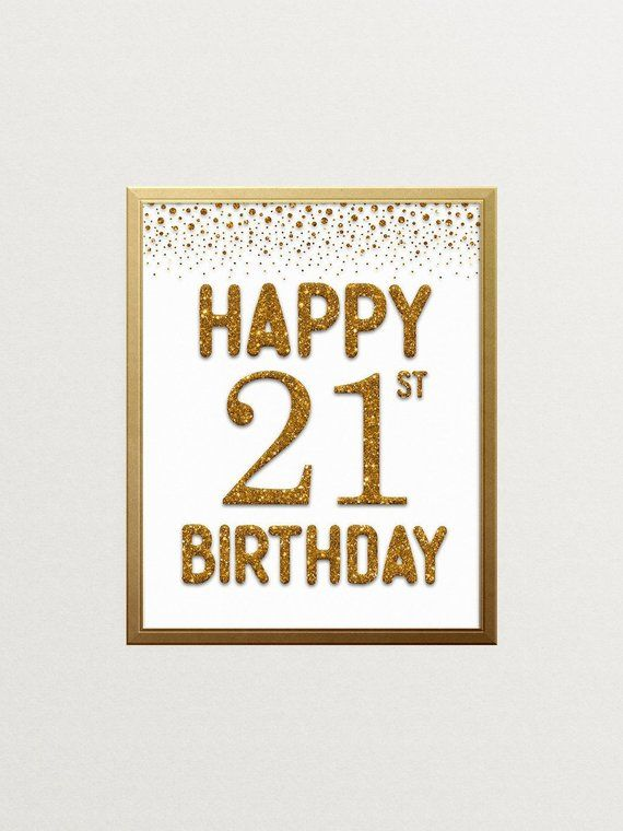 Happy 21st Birthday Sign, Cheers to 21 Years, 21st Anniversary Sign, Confetti Gold Birthday Party Decoration, Birthday décor #CH134 #21stbirthdaysigns