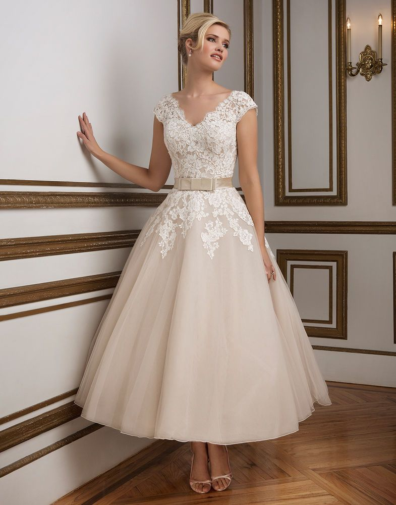 UK Short Wedding Dress 1950s Vintage Inspired Tea Length Size 8 10 12 14