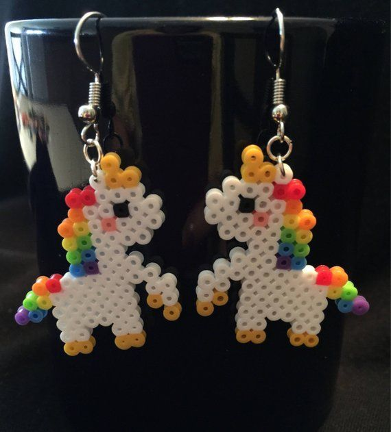 Photo of Items similar to Unicorn earrings perler beads on Etsy – Famous Last Words #be…