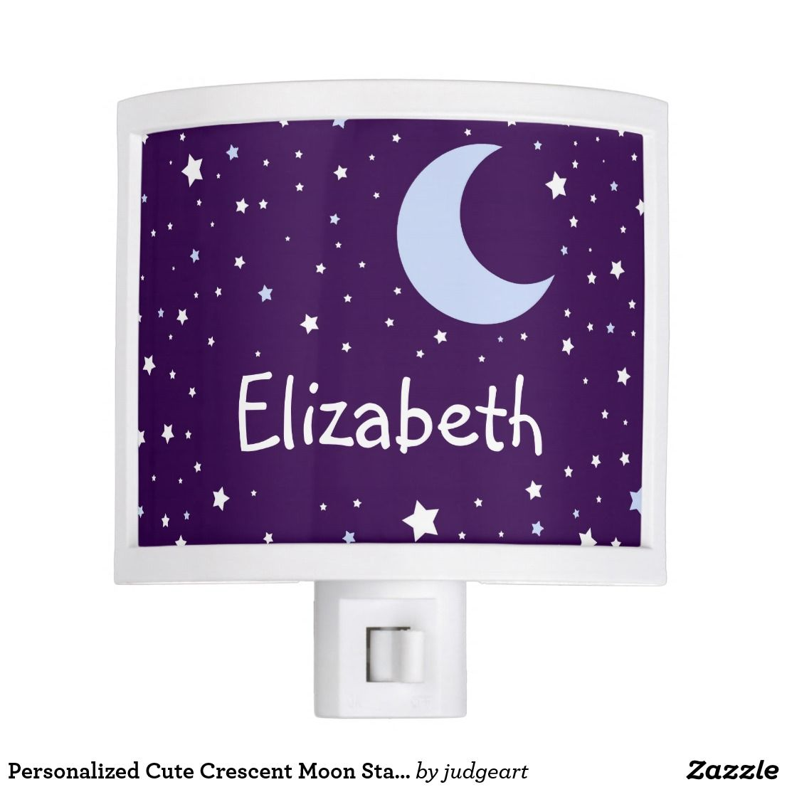 Personalized Cute Crescent Moon Starry Night Night Light Zazzle Com Starry Night Night Light Starry