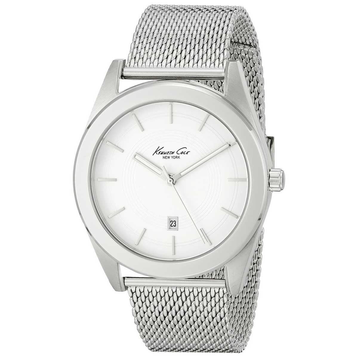 Kenneth Cole KC9370 Men's Classic New York Silver Dial Stainless Steel Mesh Bracelet Watch