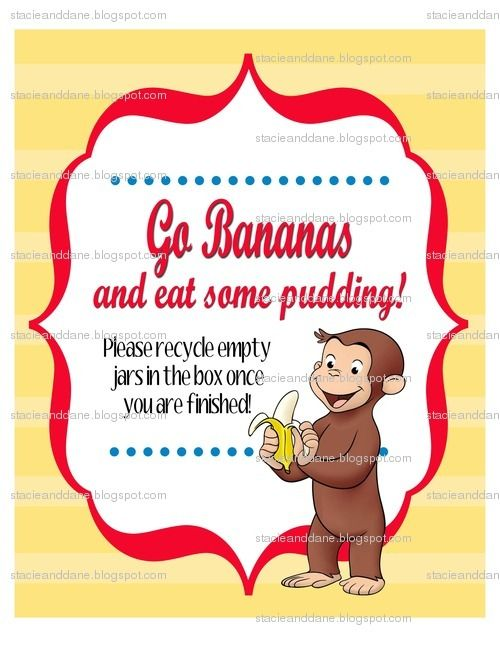 Banana pudding sign giavanas 2nd birthday party pinterest the pedersen family curious george party bookmarktalkfo Images
