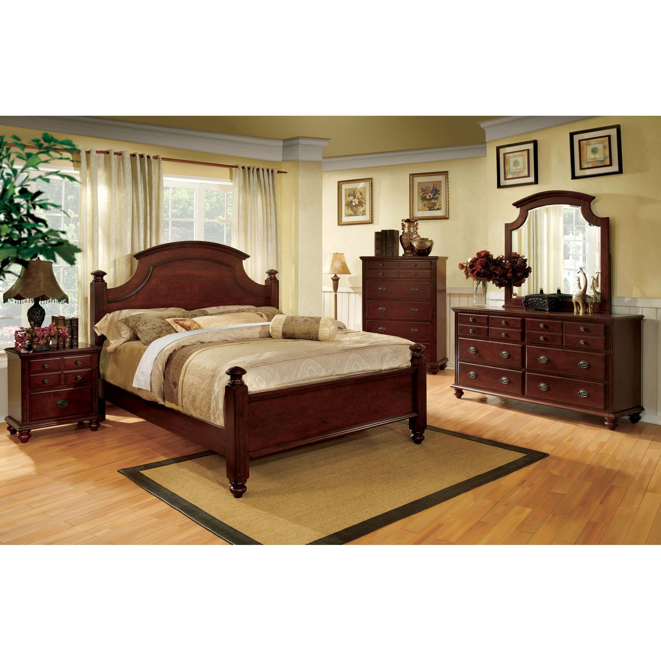Furniture of america european style piece cherry red poster