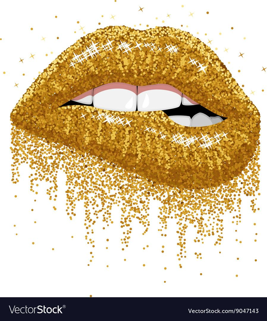 Glitter gold sparkles lips vector image on (With images