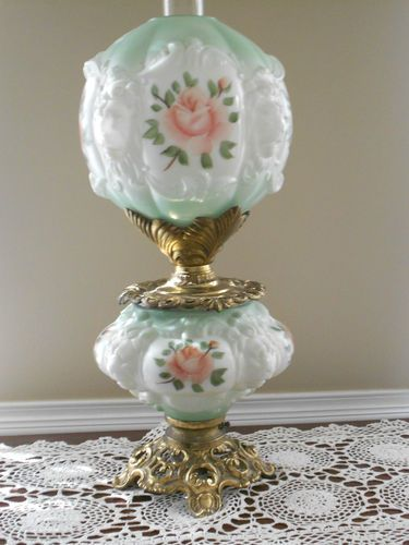 Fenton Gone With The Wind Lamp Painted Roses With Lion Head Ebay
