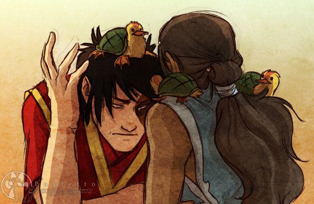 "pugletto: "" Katara fancies herself a turtleduck whisperer when Zuko can't seem to get Koko off of his head. (And Koko bites.) """
